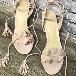 Marc Fisher blush pink suede heels tie ankle 7.5